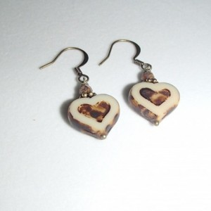 Heart Earrings. Czech Glass Hearts. Czech Glass Earrings. Tan Hearts. Brass Earrings
