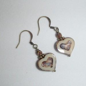 Heart Earrings. Czech Glass Hearts. Czech Glass Earrings. Tan Hearts. Brass Earrings