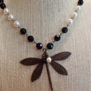 Black Crystal and White Pearl Dragonfly Necklace and Earrings.