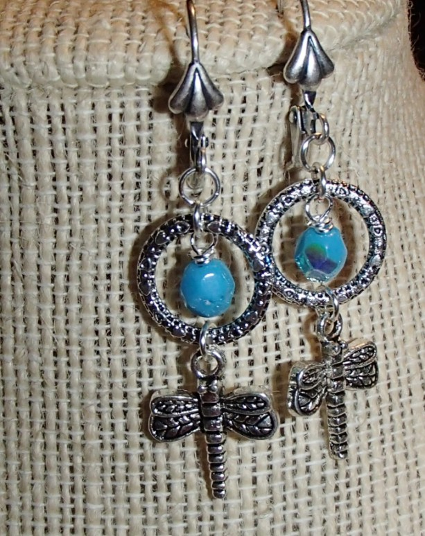 Silver Dragonfly Circle Earrings