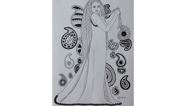 Paisley Ink Illustration