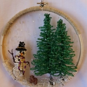 Wire Bead Evergreen Tree Sculpture Hanging Sun Catcher