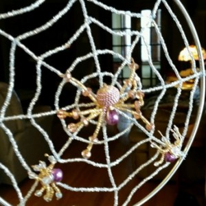Spider Web Hanging Bead Sculpture/Sun Catcher