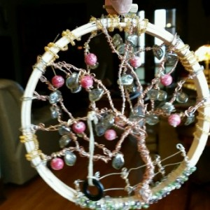 Apple Tree Wire and Bead Hanging Sculpture / SunCatcher