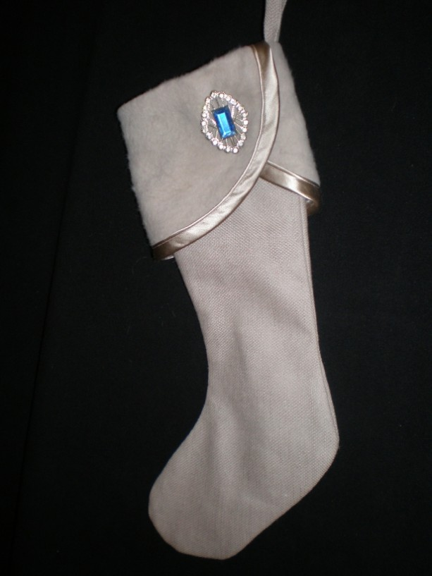 Cuffed Christmas Stocking with Blue Vintage Pin