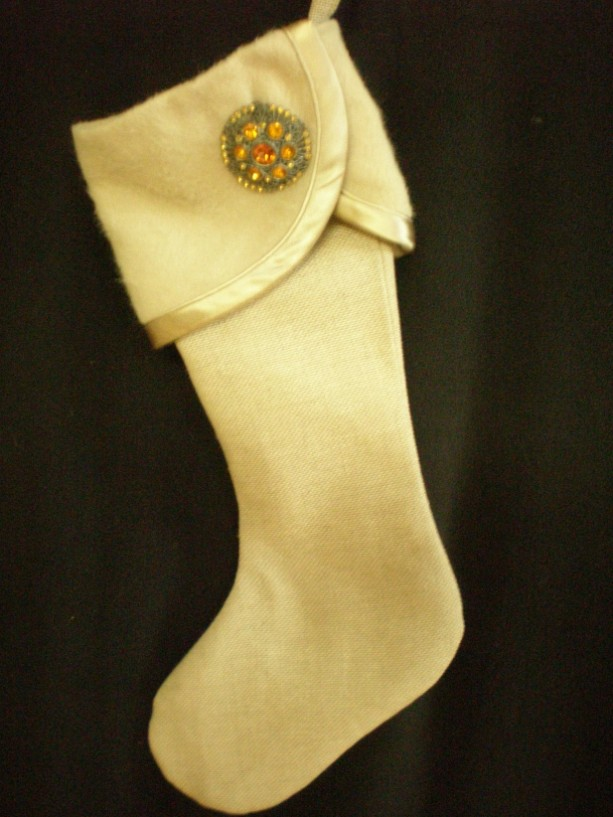 Beige Christmas Stocking with Gold Vintage Pin