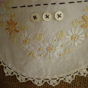 Burlap Christmas Stocking with Repurposed Vintage Linen