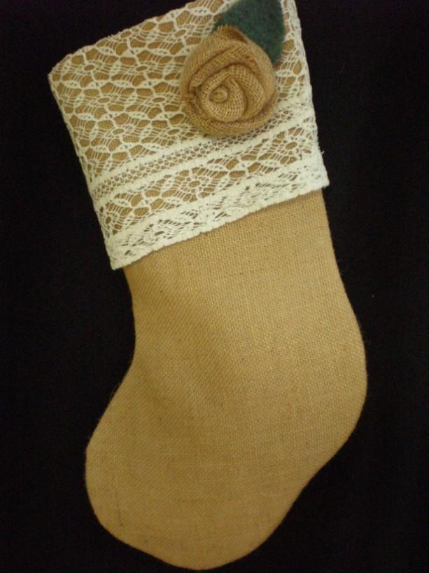 Burlap & Vintage Lace Christmas Stocking