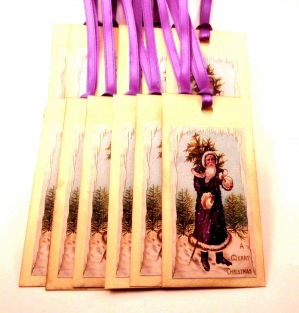 Christmas Tags, Victorian Santa Claus in a Purple Coat - Set of 12