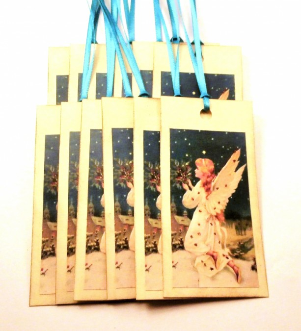 Angel Tags - Victorian Angel Gift Tags with Holly Boughs - Set of 12