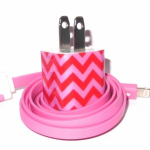 Peppermint Chevron Cell Phone Charger