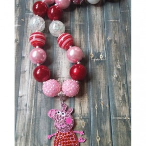 Peppa Pig Inspired Rhinestone Chunky Necklace