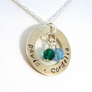 Personalized Mother's Necklace - Washer with 2 Birthstones