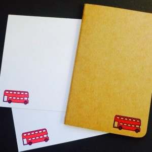 Double Decker Bus Journal & Notecards (Gocco printed)