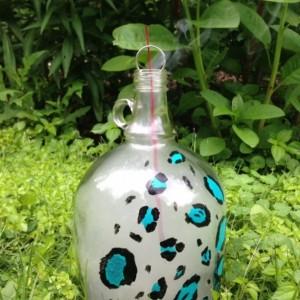 Teal Leopard Spot Incense Burner Whiskey Jug
