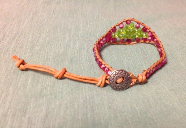 Natural Leather Bracelet with Mixed Glass Beads
