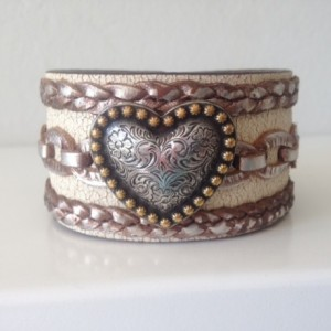 Vintage Leather Cuff with Large Heart