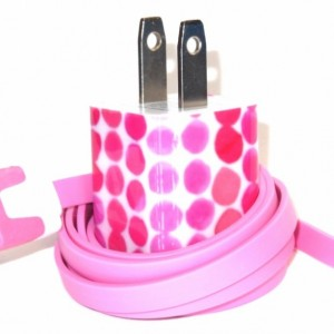 Pink Stacked Bubbles Cell Phone Charger