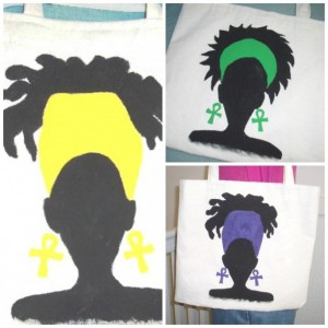 Stylish Canvas Tote Handpainted