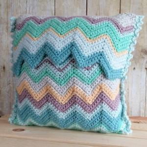Blue Chevrons Pillow Cover 14x14, Coastal Beach Decor, Blue Decorative Pillow Cover, Toss Pillow Cover, Throw Pillow, Cushion Cover