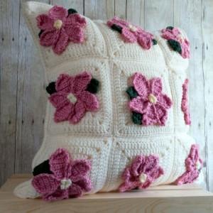 Pink Poinsettia Christmas Pillow Cover 20x20, Christmas Throw Pillow Cover, Cream Christmas Pillow, Christmas Home Decor