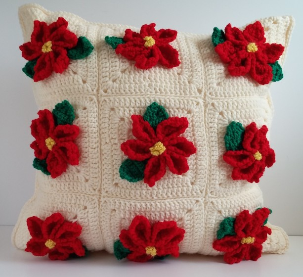 Poinsettia Christmas Pillow Cover 20x20, Christmas Throw Pillow Cover, Christmas Pillow, Christmas Home Decor