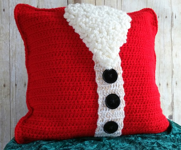 Santa Christmas Pillow Cover 16x16, Christmas Throw Pillow Cover, Holiday Throw Pillow Cover, Santa Christmas Cushion Cover