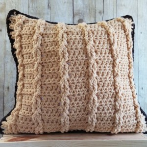 Tan Throw Pillow Cover 20x20, Brown Earth Tone Rustic Pillow Cover, Earth Tones Cable Knit Pillow Cover, Textured Pillow, Rustic Decor