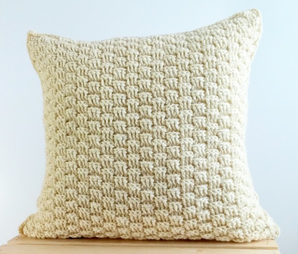 Wool Throw Pillow Cover 16x16 Rustic Cream Pillow Cover
