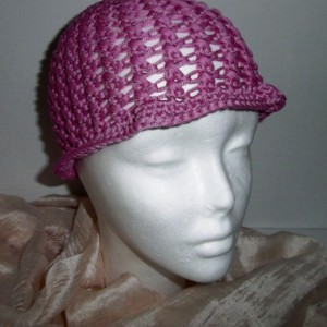 Bright Pink Crochet Beach Comber Hat Cloche