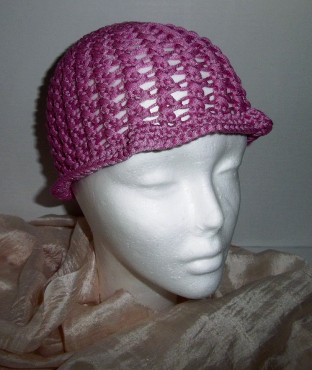 Bright Pink Crochet Beach Comber Hat Cloche