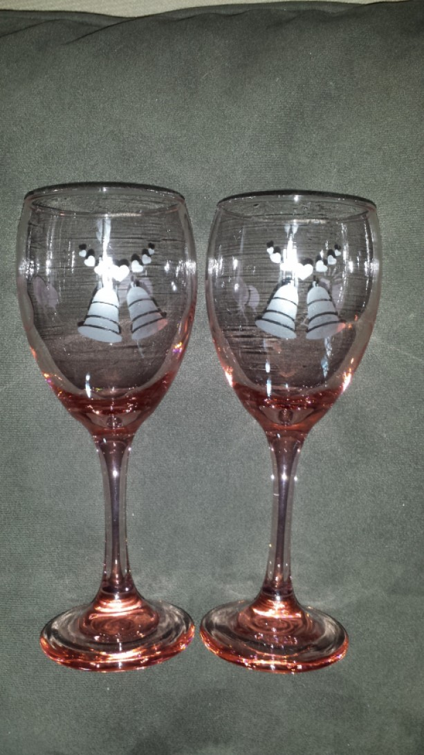 pink engagement etched wine glasses - Etched Wine Glasses