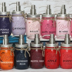 Painted Ball Mason Jar Bathroom Set - 6 Piece - 49+ Colors