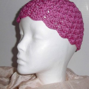 Bright Pink Crochet Shell Hat Cloche