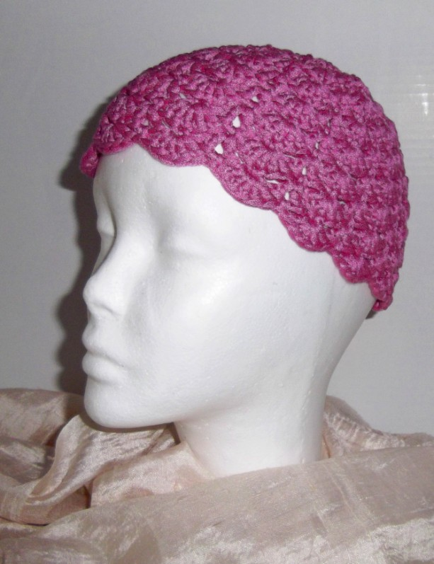 Bright Pink Crochet Shell Hat Cloche