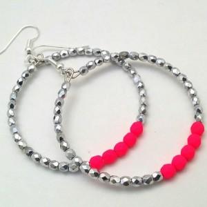 Neon Pink Hoops, Pink Beaded Hoops, Neon Pink Earrings, Trendy Pink Boho, Simple Pink Hoops, Hot Pink Silver Hoop, Small Medium Hoops