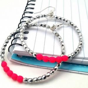 Neon Pink Hoops, Pink Beaded Hoops, Neon Pink Earrings, Trendy Pink Boho, Simple Pink Hoops, Hot Pink Silver Hoop, Small Medium Hoops