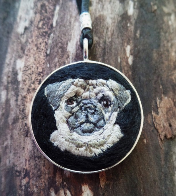 Pug Hand Embroidered Necklace