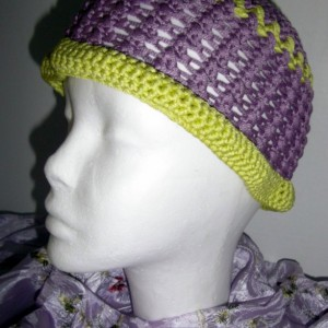 Purple and Lime Crochet Beach Comber Hat
