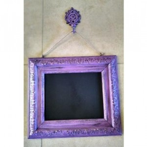 Shabby Chic Magenta Hanging Chalkboard w/Decorative Hook