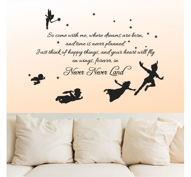 Vinyl Wall Decal Sticker Bedroom Peter Pan Never Land Kids Childr ...