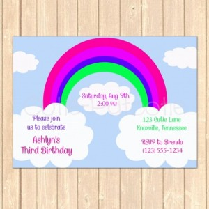 Personalized Rainbow Sky Birthday Event Invitation