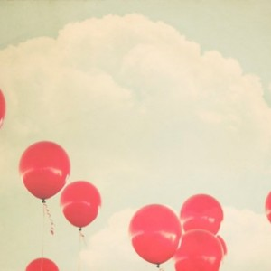 Red Balloons - 8x10 photograph - fine art print - vintage photography - whimsical nursery art - balloon art
