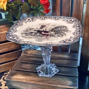 French Country Romance! Shabby Chic 'Rooster' Cake Stand/Fine Porcelain w/Crystal Pedestal