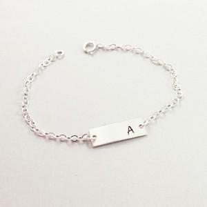 Sterling silver personalized bar bracelet, initial bracelet