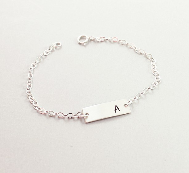 Sterling Silver Personalized Bar Bracelet Initial