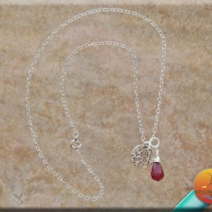 Ruby and Fine Silver Women's Necklace