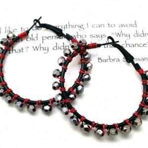 Red Wire Wrap Hoops, Red Black Earrings, Simple Boho Earrings, Trendy Hoop Earrings, Red Silver Hoops, Black Silver Hoops, Holiday Hoops
