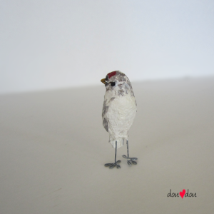 Redpoll Finch Miniature Bird Sculpture