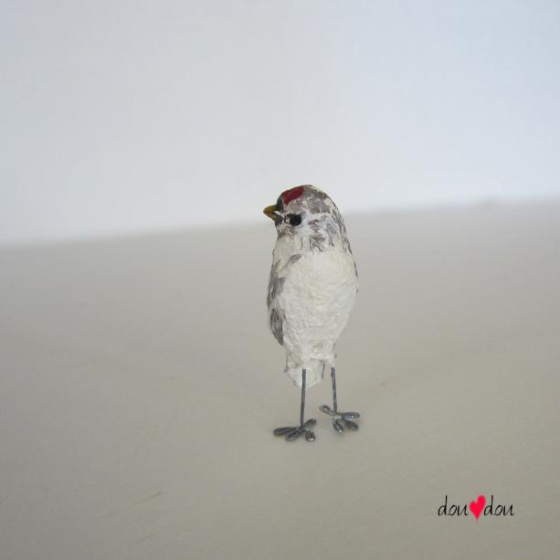 Redpoll Finch Miniature Bird Sculpture